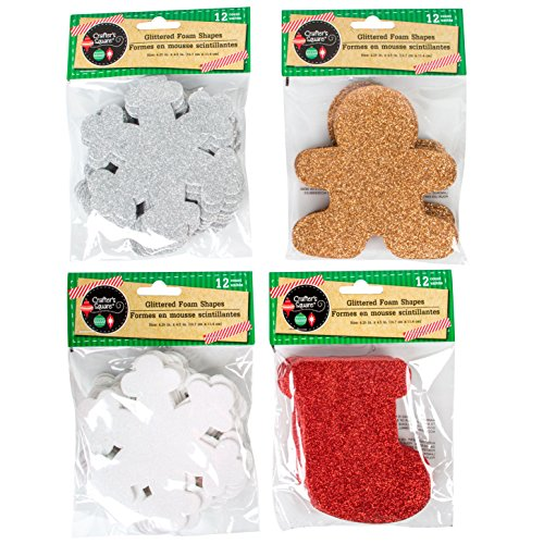Christmas Glittery Foam Shapes, 12-ct. Packs (Includes Total of 48 Shapes: Gingerbread Man, White Snowflakes, Silver Snowflakes, and Christmas Stockings) (Christmas)