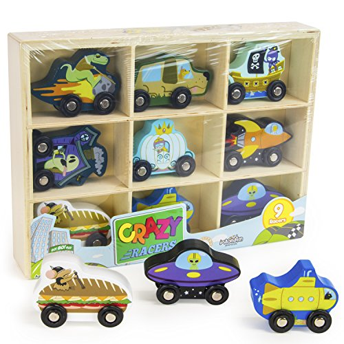 Crazy Racers Wooden Car Vehicle Set in Wood Storage Tray, 9 Wacky Characters by Imagination Generation