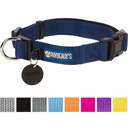 "Phydeaux's Strong 'n Soft Nylon Dog Collar, Dark Blue (8 Colors), Large, Neck 17""-23"", Lifetime Warr"