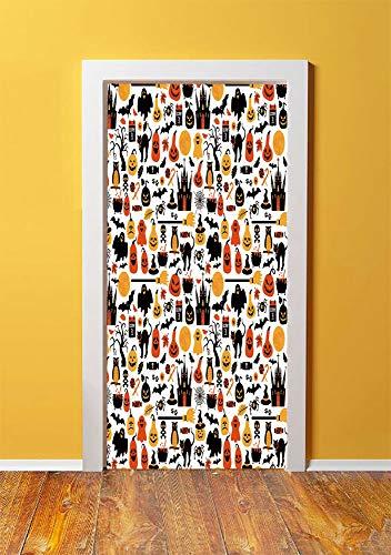 Halloween 3D Door Sticker Wall Decals Mural Wallpaper,Halloween Icons Collection Candies Owls Castles Ghosts October 31 Theme Decorative,DIY Art Home Decor Poster Decoration 30.3x78.1856,Orange Yellow]()
