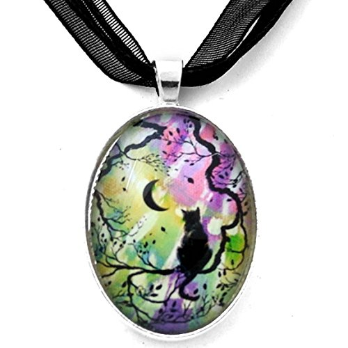 Zen Cat Necklace New Moon Silhouette in Aurora Borealis Boho Handmade Art Pendant (Silhouette Black Necklace)