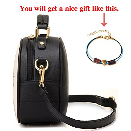 Shoulder 2 Handbags Satchel Black for Tote Handle Cute Pu Leather Purse Top Bags Cat Women nUqwFPRn6