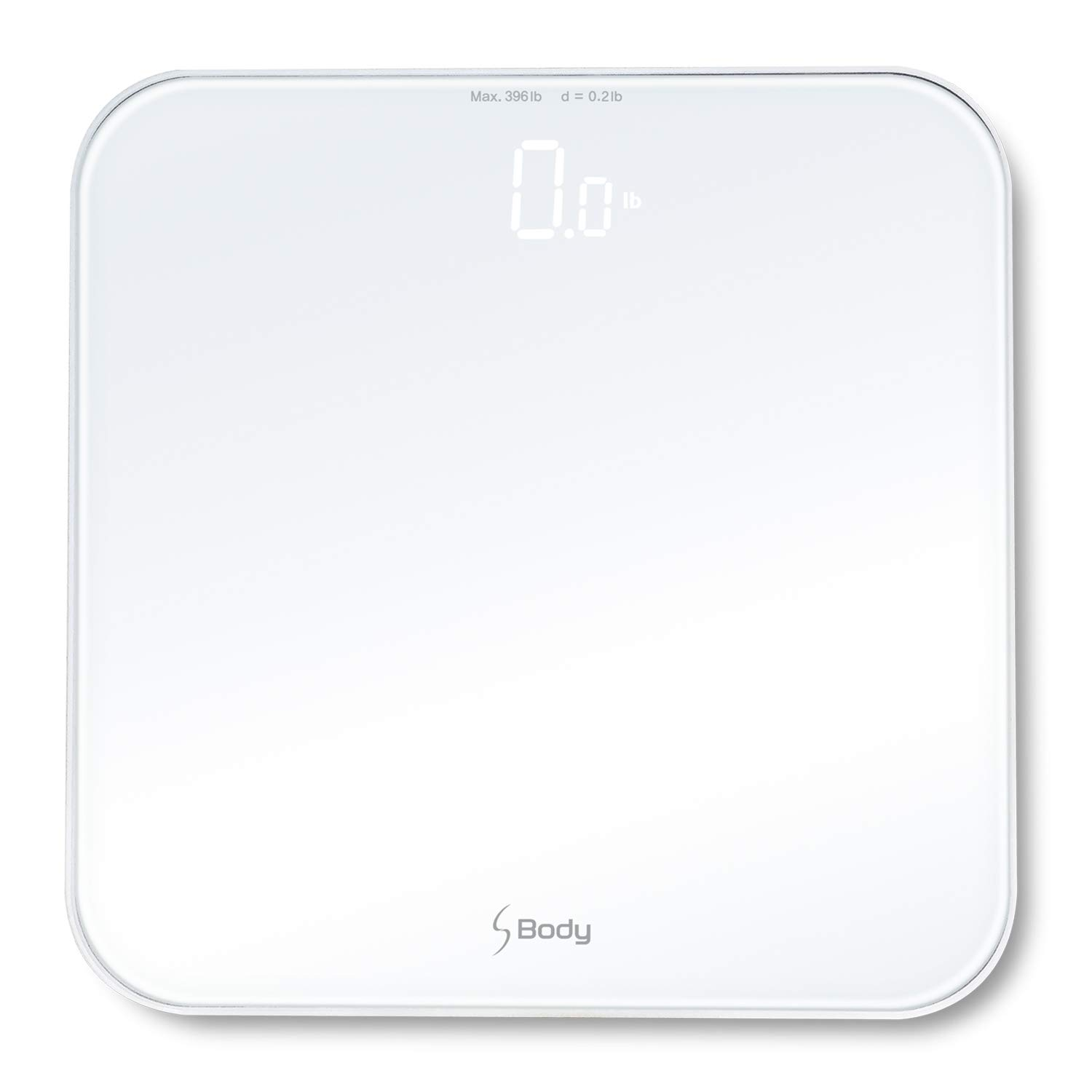 S Body High Precision Ultra Wide Digital Body Weight Bathroom Scale up to 396lb/180kg, Super-Clear Large LED Display, ''Step-On'' Technology, White