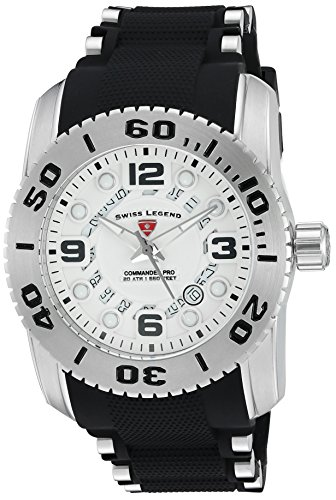 Swiss Legend Men's 'Commander Pro' Quartz Stainless Steel and Silicone Watch, Color:Black (Model: 10069-02S)