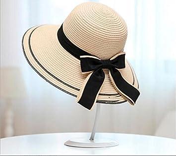 Meaeo Sun Hat Big Black Bow Cappelli Estivi per Le Donne Pieghevole  Spiaggia di Paglia Hat 74283fe39f1c