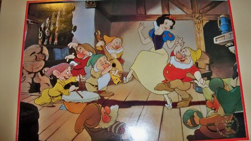 Full Color Matted Snow White & The Seven Dwarfs Exclusive Commemorative Lithograph 1994 A Walt Disney Classic ( with Original Envelope ) Scene with Her Dancing with One & Other Dwarfs Playing Instruments in House
