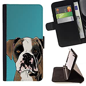 Momo Phone Case / Flip Funda de Cuero Case Cover - Boxeador del dibujo del arte del perro de Brown Blanca; - Samsung Galaxy Note 3 III