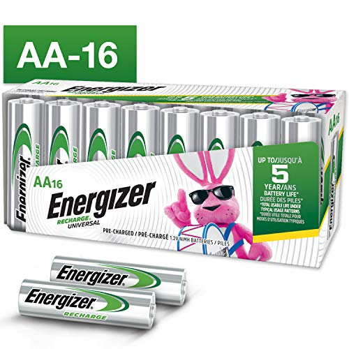 Energizer Rechargeable AA Batteries (16-Pack) Pre-Charged, 1.2V NIMH 2,000 mAh Rechargeable Batteries, 16 Count