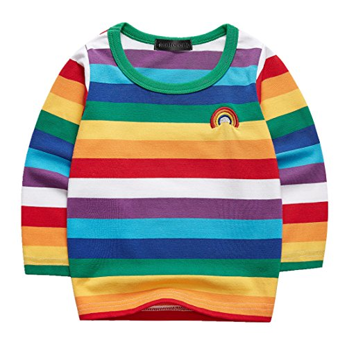 Sooxiwood Boys T-Shirt Striped Rainbow Long Sleeve Size 24M L-Rainbow]()