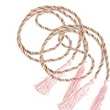 MoGist 2PCS Thick Rope Curtain Tie Backs Hand Knitting Curtain Rope Tiebacks Curtain Tieback Holdback (Pink)