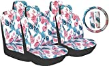 cover seat accessories car flower - Premium 13 Piece Luxury Poly Cloth White Hawaiian Flowers Stitching Universal Car Seat Cover Set w/ Steering Wheel & Seat Belt Pads - Trendy Collection