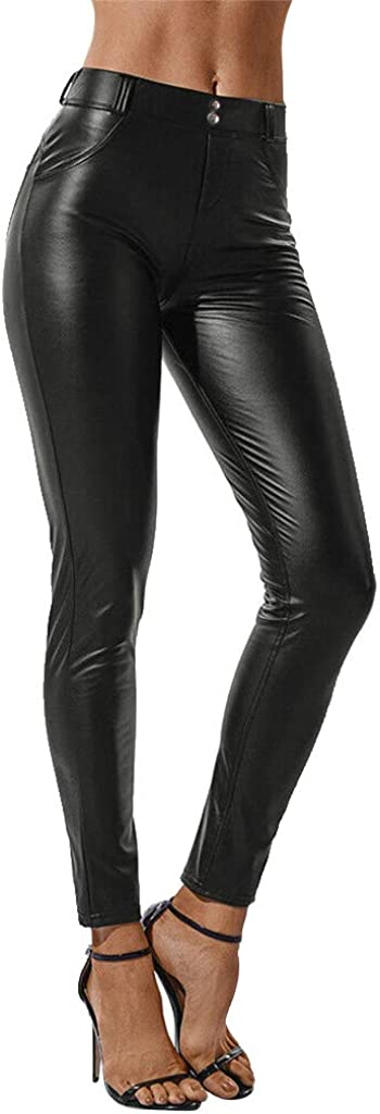 OHQ Pantalones De Cuero Mujer Negro Liso Y Casual Polainas EláSticos Pantalones Gruesos