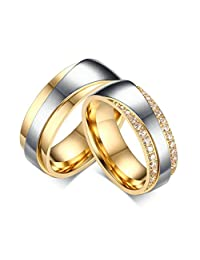 Epinki 7MM Stainless Steel Silver Gold Two Tone Wedding Bands Engagement Rings for Women and Men 2Pcs