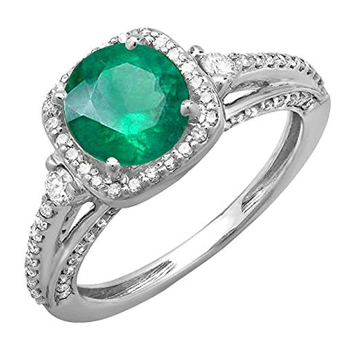 14K Round 7.5 MM Emerald & White Diamond Ladies Halo Engagement Ring, White Gold, Size 9.5