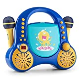 Auna Rockpocket Kids Karaoke Player System • CD-Player • AUX • 2 x Microphone Set • Stereo Speakers • Carrying Handle On the Top • Rounded Body Design with No Sharp Corners • Customisable • Built-In Battery • LED Display • Blue