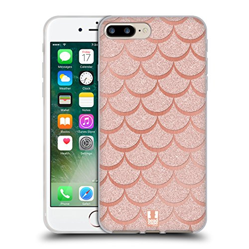 Head Case Designs Rose Gold Mermaid Scales Soft Gel Case for Apple iPhone 7 Plus / 8 Plus