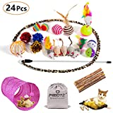 MIBOTE 24Pcs Cat Toys Kitten Catnip Toys Assorted - 2 Way Tunnel - Fish - Interactive Feather Teaser - Fluffy Mouse - Tumble Cage Mice - Crinkle Rainbow Balls Bells Toys for Puppy Kitty