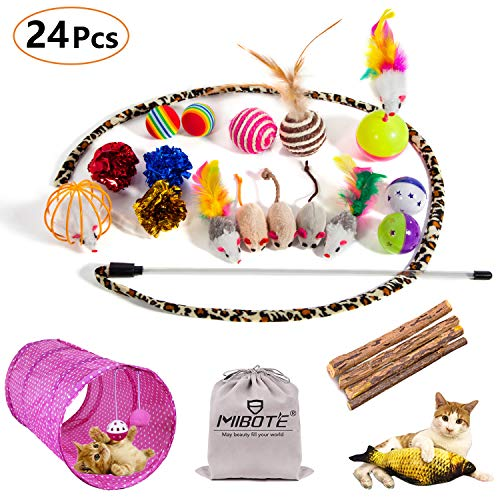 MIBOTE 24Pcs Cat Toys Kitten Catnip Toys Assorted, 2 Way Tunnel, Fish, Interactive Feather Teaser, Fluffy Mouse, Tumble Cage Mice, Crinkle Rainbow Balls Bells Toys for Puppy Kitty from MIBOTE