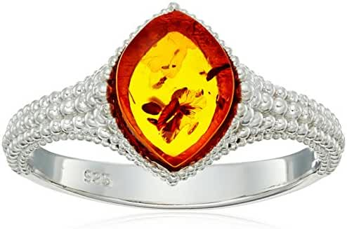 Rhodium Plated Silver Honey Amber Marquise Ring, Size 7
