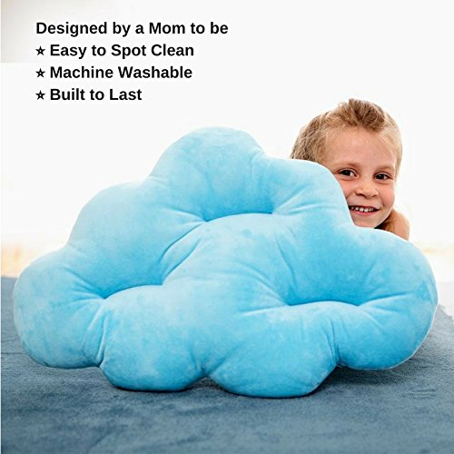 Cloud Pillow as Accent Pillow or Floor Sitting Pillow - Light Blue Color, Fun Design, Soft Materials for Kids Bedroom Decor or Accent Pillow in Other Rooms