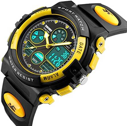 Kids Unusual Analog Quartz Dual Time Zone Digital Outdoor Sport Waterproof PU Resin Band Watch with Alarm, Chronograph, EL Back Light, Classic Design Calendar Date Window, for Boys Girls - Yellow