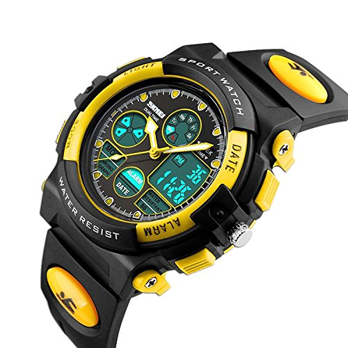 Kids Digital Outdoor Watch Sport Analog Quartz Waterproof Watches for Boys Girls with Alarm, Chronograph Calendar Date Wristwatch - Yellow