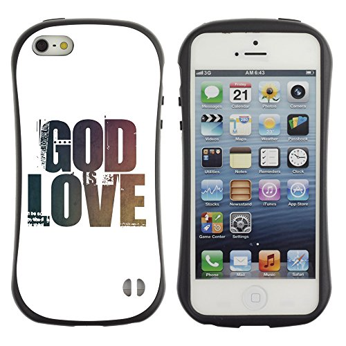 DREAMCASE Citation de Bible Silicone et Rigide Coque Protection Image Etui solide Housse T¨¦l¨¦phone Case Pour APPLE IPHONE 5 / 5S - GOD IS LOVE, HE IS PATIENT, HE IS KIND