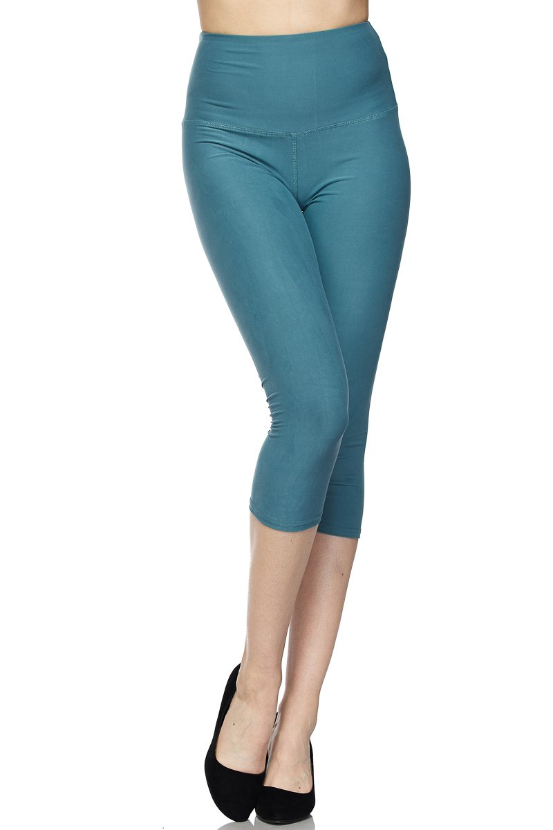 PALI USA Best Selling Womens Solid Colors Brushed Capri Leggings With 5 inches Waistband (Sea Blue, One Size(0-12))