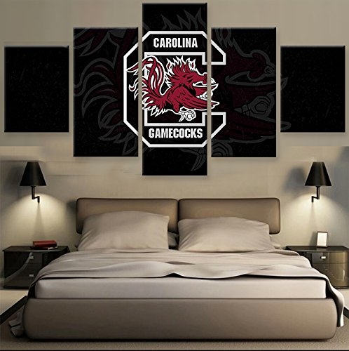 [Small] Premium Quality Canvas Printed Wall Art Poster 5 Pieces / 5 Pannel Wall Decor Carolina Gamecocks Sports Painting, Home Decor Pictures - With Wooden Frame
