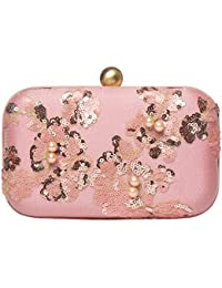 Clutch for women made of Silk hand embroidered colour sequins & pearl Hard case party evening clutch by Monokrome New York