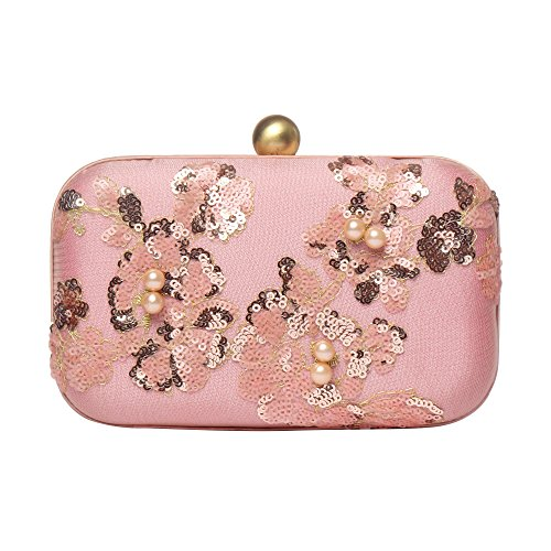 MONOKROME NEW YORK Nashville silk hand embroidered multicolour sequins & pearl Hard case party pink clutch (Handbag Purse Silk)