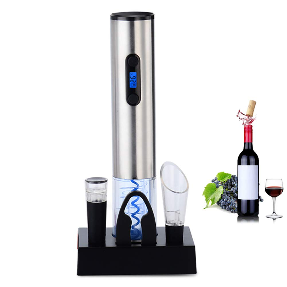ZDYLM-Y Electric Wine Bottle Opener with Foil Cutter, Stainless Steel, One Touch Wine Bottle Opener, Blu-ray Design