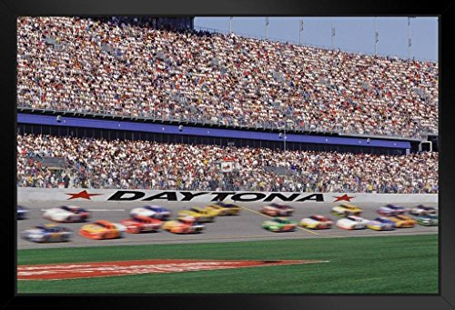 (Stock Car Race Crowd Photo Art Print Framed Poster 14x20 inch)