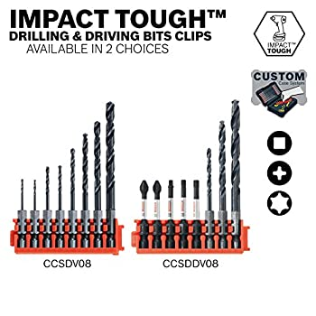Bosch CCSDDV08 8Piece Impact Tough Black Oxide Drill & Drive Bits with Clip for Custom Case System