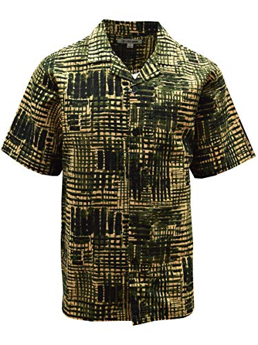 STACY ADAMS Linen Blend Print Shirt- Basket Weave Print Motif (3XL, Olive) - Shirt Weave Print Basket