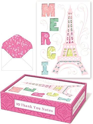 Merci Paris Eiffel Tower Whimsical Thank You Notes Punch Stu
