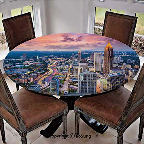 Elastic Edged Polyester Fitted Table Cover,Atlanta City Skyline at Sunset with Hazy Light Georgia Town American View,Fits up to 36