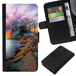 KLONGSHOP // Tirón de la caja Cartera de cuero con ranuras para tarjetas - Naturaleza Fantasy Sunset - Sony Xperia M2 //