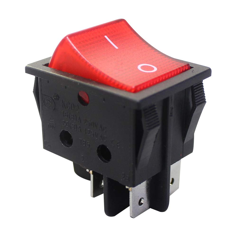DaierTek 5Pcs DPST 4 Pin Rocker Switch 220V Red Light Toggle Switch ON Off 16A 250VAC 20A 125VAC for Boat Car Motorcycle Household Appliances: Industrial & Scientific