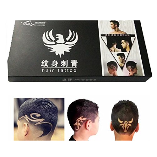 UNAKIM--25PCS/Lots Temporary Tattoo Stencil Haircut Hair Styling Shaping Tool W/ Roller