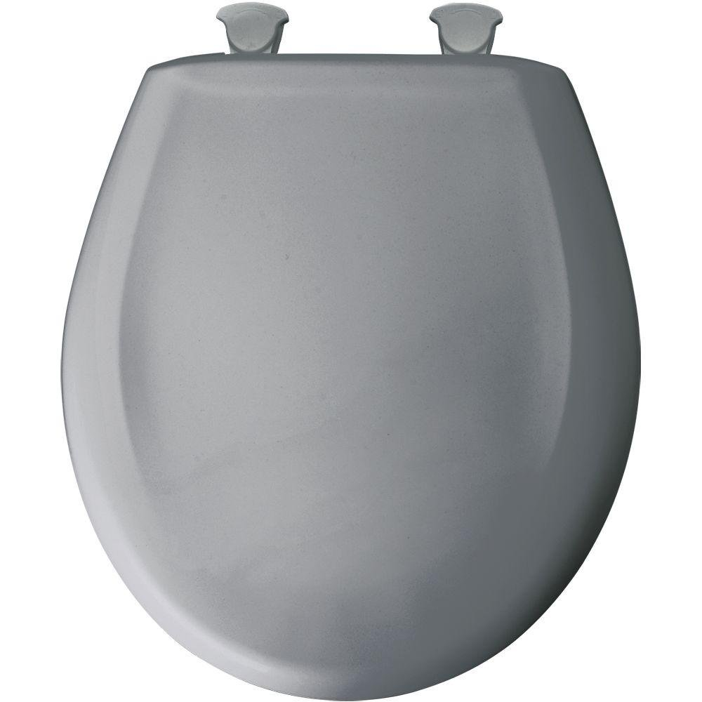 Bemis 200SLOWT 032 Whisper Close Round Closed Front Toilet Seat,Country Grey,