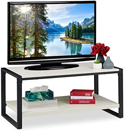 Outlet Winkel Relaxdays salontafel, tv-meubel voor woonkamer, plat, 2 niveaus, houtnerf, h x b x d: ca. 45 x 100 x 55 cm, wit, particle board, metaal  45bIGGN