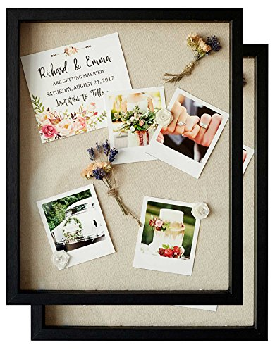 Shadow Box Display Case - Set of 2 Deep Wood & Glass Shadowbox Frame 11x14 with Linen Board - Wall-Hanging & Free-Standing - 3D Showcase Keepsake Art Graduation Baby Wedding Military Sport - Black ()