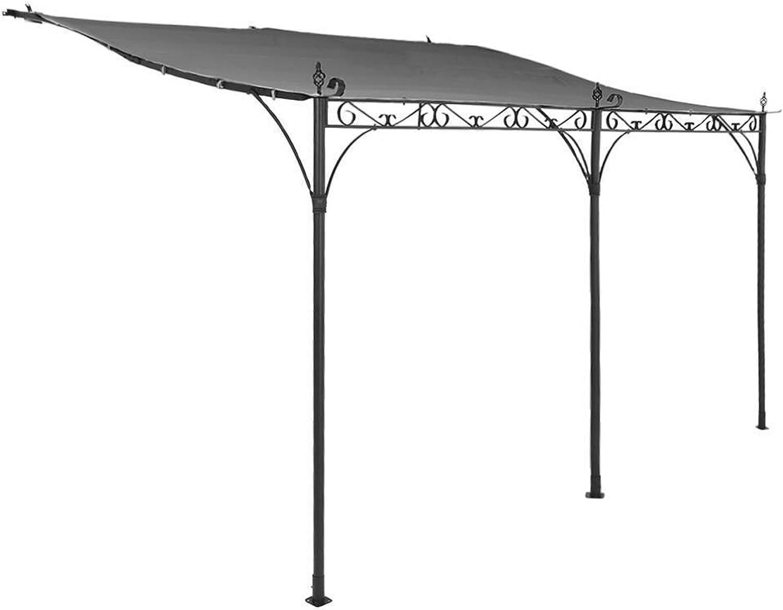 Pérgola de jardín de acero epoxi y techo en poliéster, pizarra ...