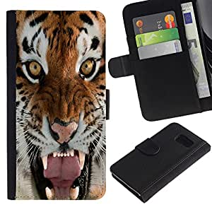 KingStore / Leather Etui en cuir / Samsung Galaxy S6 / Tigre Rugido Bostezo intenso Naturaleza Animal