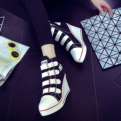 Ochenta Kvinna Rund Tå Canvas Kil Klack Plattform Mode Spänne Sneaker Pump Skor Svarta