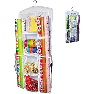 aotuno double sided hanging gift wrap organizer storage bagwrapping paper storage holder