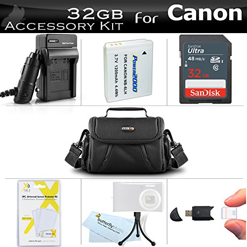 32GB Accessories Bundle Kit For Canon PowerShot SX170 IS, SX520 HS, SX530 HS , SX540 HS Digital Camera Includes 32GB High Speed SD Memory Card + Replacement NB-6L Battery + AC/DC Charger + Case + More