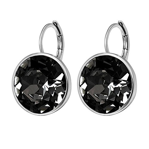 Xuping Valentine's Day Sparkle Hoop Earrings Crystals from Swarovski Women Girl Party Jewelry Elegant Mom Gifts (Black) (Party Crystal)