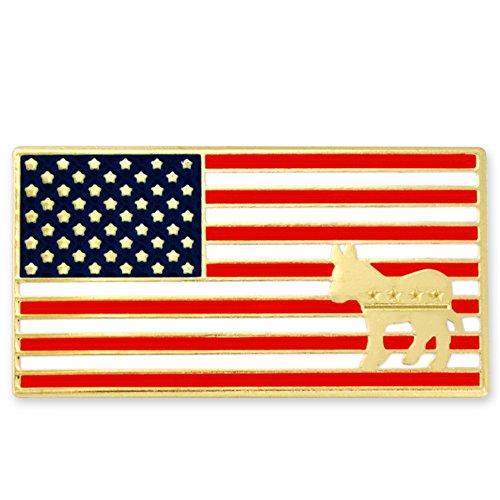 PinMart's American Flag Democrat Donkey Patriotic Enamel Lapel Pin